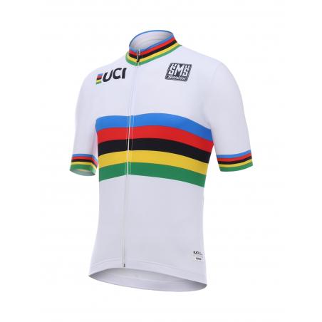 Maillot Cyclisme Santini UCI Champion du Monde Arc En Ciel Personnalisation