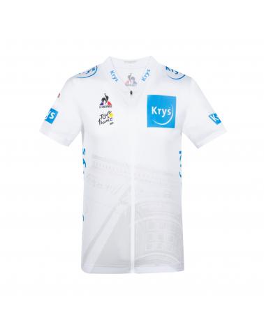 """Maillot Blanc Cyclisme Le Coq Sportif Tour de France  """" Jeune"""" 2021"""