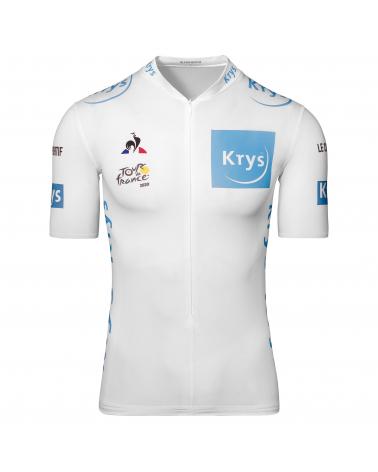 """Maillot Cyclisme Le Coq Sportif Tour de France Maillot Blanc """" Jeune"""" 2020"""