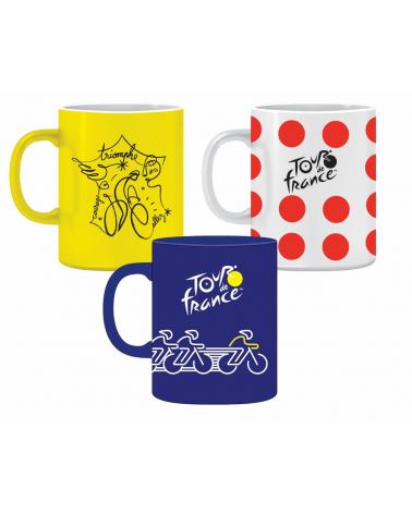 Set De 3 Mugs Tour de France Vélo Pois Affiche
