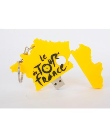 Porte-clésTDF USB  4go Carte France Jaune